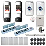 Visionis FPC-7678 Two Doors Access Control Electromagnetic Lock for Outswinging Door 300lbs TCP/IP Wiegand Controller Box, Indoor Outdoor Fingerprint/Card Reader, Software Included 10000 User, PIR Kit