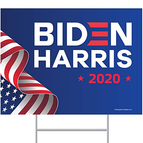with 2 American Flags 18x12 ITC Biden//Harris 2020 Yard Signs with H-Frames