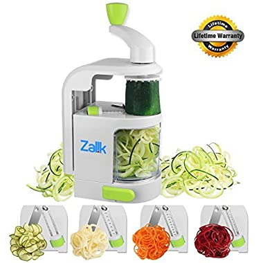 Spiralizer Vegetable Slicer - 4 IN 1 Blade Dial Veggie Spiralizer - Strongest-and-Heaviest Duty Vegetable Spiralizer- Vegetable Pasta Spaghetti Maker For Low Carb/Paleo/Gluten-Free Meals by Zalik