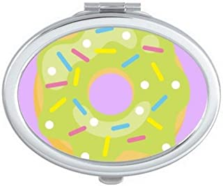 DIYthinker Green Doughnut Dessert Sweet Food Oval Compact Makeup Mirror Portable Cute Hand Pocket Mirrors Multicolor