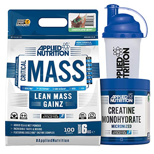 Applied Nutrition Bundle Critical Mass Protein Powder 6kg + Creatine Monohydrate 250g + 700ml Shaker | High Mass Gainer, Serious Weight Gain Supplement with BCAA (Chocolate Mint)