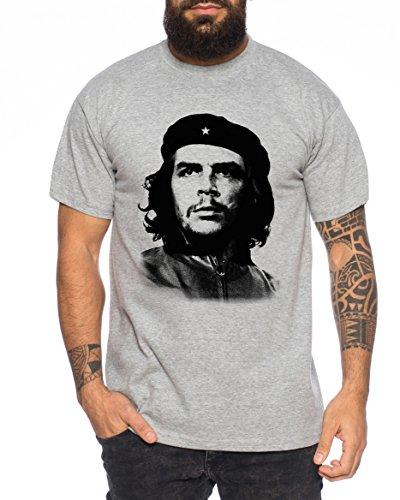 Sambosa Che T-Shirt Homme Cuba Guevara révolution, Farbe:Dunkelgrau Meliert;Größe:M