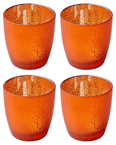 Duni 12 Stück Kerzenglas Touch Mandarin 90 x 85 mm Kerzenhalter Maxilichtglas Teelichthalter Glas Votivglas