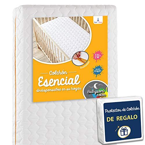 Babysom - Colchón Cuna Bebé + 1 Protector de colchón impermeable DE REGALO - Antiácaros - 70x140 cm - Antiasfixia - Transpirable - Reglaje Térmico