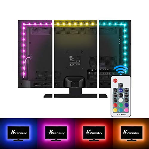 LED Strip Lights,Vansky Bias Lighting Strip for TV USB Powered for 40-60 Inch Flat Screen TV, Desktop PC - 16 Multi Colors (Reduce Eye Fatigue and Increase Image Clarity)--Waterpoof