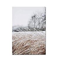XIANRENGE ポスター 草の自然の風景写真花植物ポスター風景壁アートキャンバス絵画北欧スタイルモダンなプリントリビングルーム-50x70cmx1フレームなし