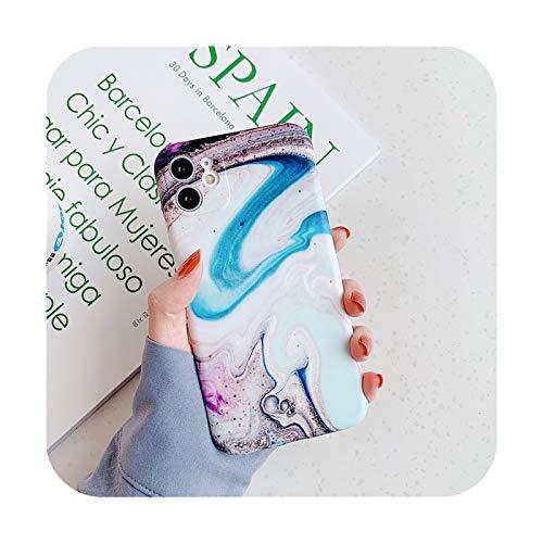 BSbattle Funda de teléfono de piedra de textura de mármol mate para iPhone 11 Pro Max 12 Pro 12Mini X XR XS Max 7 8 Plus suave IMD contraporta-IU0614-para iPhone 12