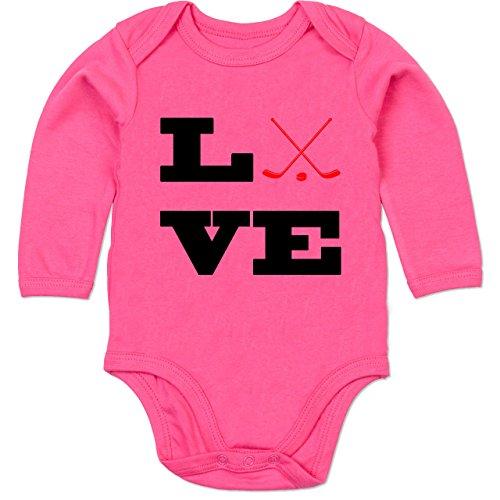 Sport Baby - Eishockey Love - 3/6 Monate - Fuchsia - Eishockey - BZ30 - Baby Body Langarm