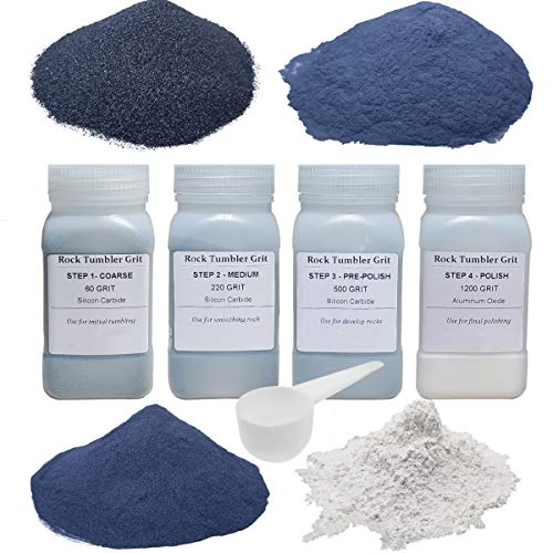 Tonmp 3 Pounds Rock Tumbler Refill Grit Media Kit (4 Polishing Grits)| 4-Steps for Tumbling Stones