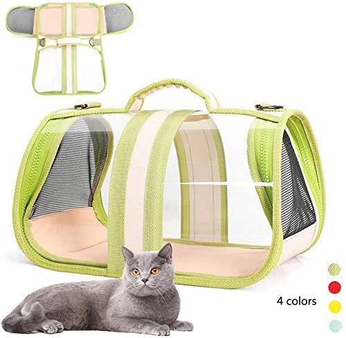 Midiao Pet Carrier Bag, bewegliches transparentes Folding wasserdicht Anti-Skid Box mit verstellbarem Schultergurt for Small Medium Hunde Katzen, Blau, L (Color : 1green, Size : Small)