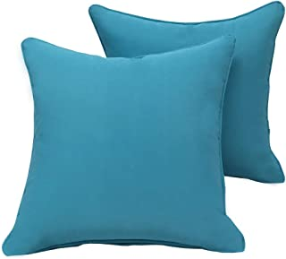Vanteriam 2 Pack Decorative Outdoor Solid Waterproof Throw Pillow Cover with Piping, Accent Pillow case for Outdoor Patio Furniture Set, Square 18''x18'' Sky Blue