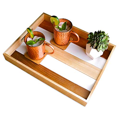 Mia Designs Products Wooden Serving Tray for Ottoman Coffee Table Food Drinks and Breakfast  2 Wooden Coasters