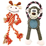 Puppy Toys for Small Dogs, 2 Pack Dog Chew Toys with Squeaky and Rope, Puppy Teething Chew Toys, Interactive Dog Toys for Small, Medium Dogs (Giraffe & Monkey)