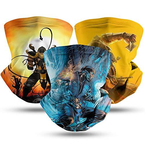 Men Women Young Face Masks Mortal Kombat Neck Gaiter Multi-Purpose Masks for Outdoor Camping Head Cover 3Pcs