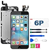 for iPhone 6 Plus Screen Replacement Black,LCD Display with 3D Touch Screen Digitizer Full Assembly+Home Botton+Front Camera+Earpiece+Free Screen Protector+Repair Tools Kit (5.5'')