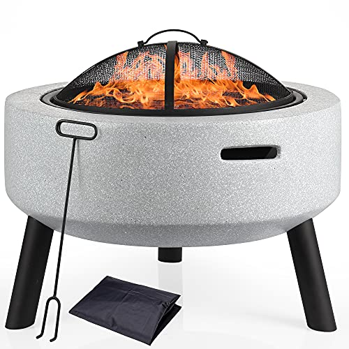 DAWOO Concrete Firepits with BBQ Grill Shelf,Barbecue Brazier,Table Brazier Garden Patio Heater/BBQ/Ice Pit with Waterproof Cover,Magnesium oxide material (With bracket)