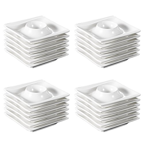 MALACASA, Série Carina, 24 Pièces Coquetier en Porcelaine Oeuf Support