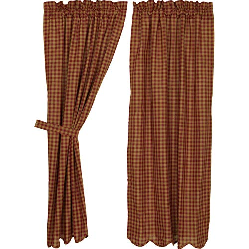 VHC Brands Burgundy Check Scalloped Short Panel Set of 2 63x36 Country Curtains, Burgundy and Tan