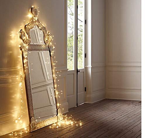 SALCAR coloré LED guirlande lumineuse de 10 mètres / 33 Ft 100 diodes à l'intérieur du fil de cuivre Micro USB pour les fêtes de Noël Party Decorating (blanc chaud)