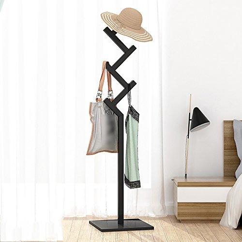 LJHA Support multifonctionnel de plancher de plancher en bois solide/chambre à coucher créative cintres/cintres simples de ménage (4 couleurs facultatives) Cintres (Couleur : Noir)