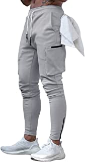 Men's Active Tack Jogger Pants Fitness Tapered Sweatpants Slim Fit Trousers with Zipper Pockets