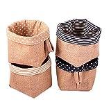 Fieans Baumwolle und Leinen Storage Bin Storage Basket 4er-Set Natural Speicher Veranstalter Korb-Typ A