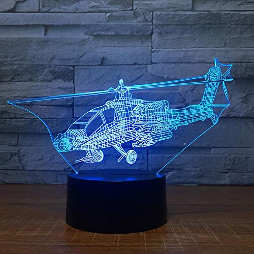 3D Led Night Light Helicopter Airplane 3D Optical Illusion Lamp 16 Color Changing Bedside Table Desk Lamp Kids Bedroom Sleep Light Boys Girls Birthday Gifts Cartoon Toys Home Decor Lamp
