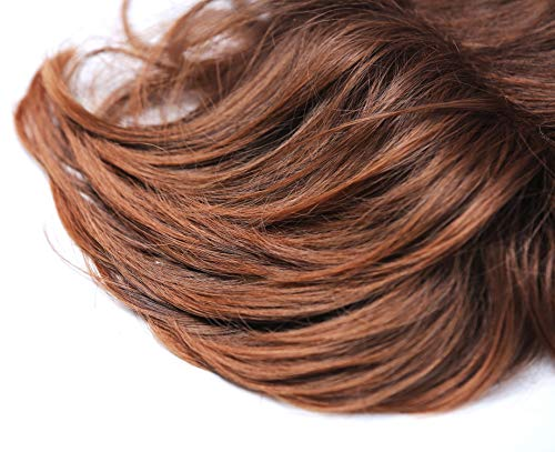 WIG ME UP - TYP-432-10BTM30 Haarteil Toupet Haarverdichtung Oberkopf Clips Braun Rotbraun gesträhnt Damen Herren