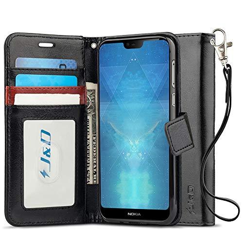 JundD Kompatibel für Nokia 7.1 Leder Hülle, [Handytasche mit Standfuß] [Slim Fit] Robust Stoßfest PU Leder Flip Handyhülle Tasche Hülle für Nokia 7.1 Hülle - [Nicht für Nokia 7.1 Plus] - Schwarz