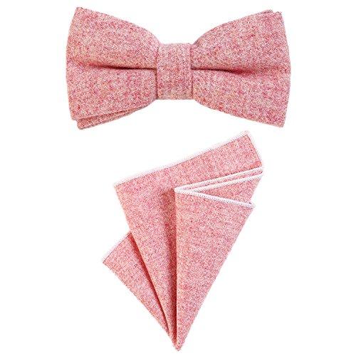 DonDon Herren Fliege 12 x 6 cm gebunden längenverstellbar und Einstecktuch 23 x 23 cm farblich passend aus Baumwolle rosa