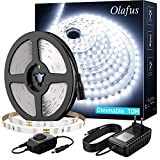 Olafus 10M Tira LED Regulable, Tira LED 12V Blanco Frío 6000K, 600 LEDs 2835 con Adaptor y Regulator Cinta LED para Decoración Interior Fiestas, Jardín, Dormitorio, Escaleras, Cocina, Gabinete, Bar