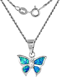 Sterling Silver Synthetic Opal Butterfly Necklace for Women Hand Inlay 5/8 inch