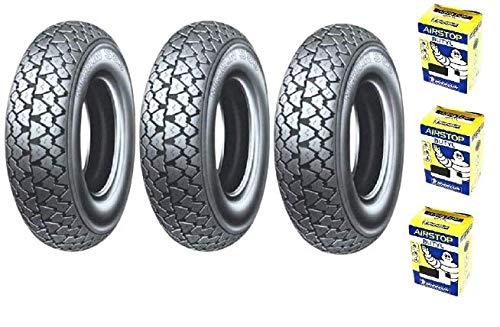 Trois pneus Pneu Michelin s83 3.50 10 59J + chambre à air pour piaggio pX 200