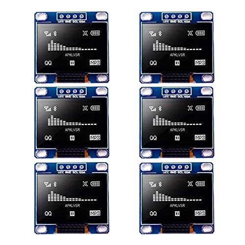 APKLVSR I2C OLED 0.96 Pollici Display Modulo OLED IIC SSD1306 128 64 LCD Bianco Compatibile con Arduino R3 STM (6 Pz)