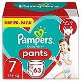 Pampers Baby-Dry Pants 7 - Pañales para bebé (63 unidades, fácil de poner y quitar, fiable, 17 kg)