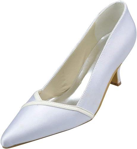 ZHRUI Y1029 Femmes Chaton Talon Satin Soirée De Mariage De Mariée Pompes (Couleuré   Ivory-6.5cm Heel, Taille   7.5 UK)