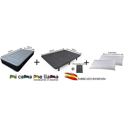 Dulces Sueños Pack COLCHON VISCOELASTICO Premium + Base TAPIZADA 3D + Patas + 2 Almohadas VISCO