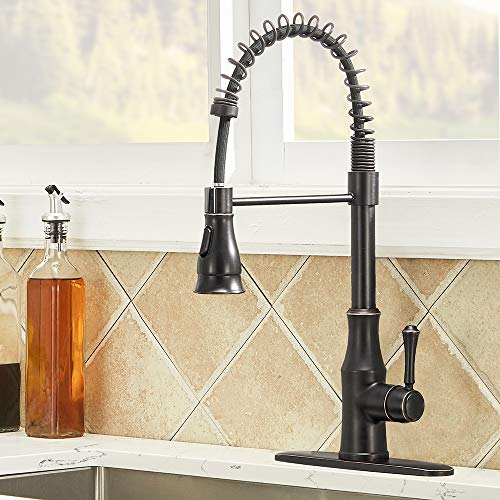 IKEBANA Best Single Handle High Arc Pull Out Oil Rubbed Bronze Kitchen Faucet, One Or Three Hole Pull Down Sprayer Bronze Black Farmhouse Spring Kitchen Sink Faucet with Deck Plate (1 or 3 hole)