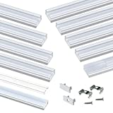 Muzata LED Channel System with Crystal Transparent Diffuser Clear Cover Lens,Aluminum Extrusion Track Housing Profile for Strip Light high Light,10Pack 3.3ft U1SW WT 1M, LU1 LH1