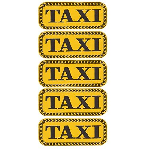 TAXI - Lote de 5 adhesivos reflectantes para coche, color amarillo y negro