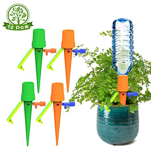 Lenbicki 12 Pack Plant Water on Holiday Plant Watering Devices Self Watering Spikes Automatic Watering Device with Slow Release for Indoor and Outdoor Plants(New green)
