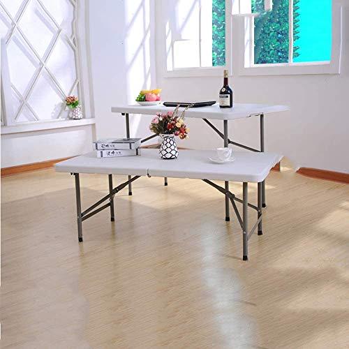 YYhkeby Tavolo Pieghevole Tavolo da Pranzo Tavolo da Pranzo all'aperto Portatile da Campeggio tavola da Campeggio rettangolo Lungo Tavolo da Pranzo scrivanie e sedie (Bianco) Jialele