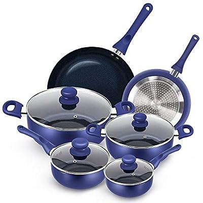 KUTIME 10pcs Cookware Set Non-stick Pots and Pans Set