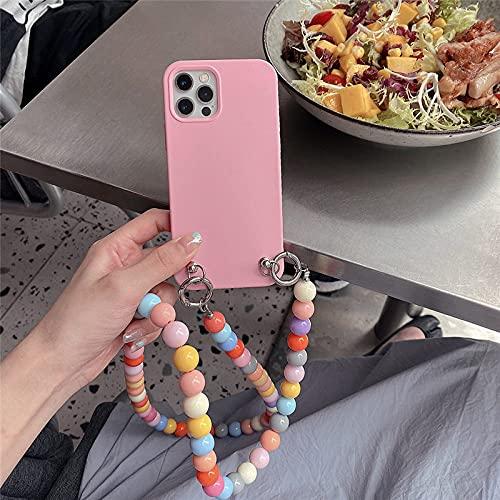 LIUYAWEI Crossbody Rainbow Beads Funda para teléfono a Prueba de Golpes para iPhone 11 12 Pro MAX XR X XS 6S 7 8 Plus SE 2 Bumper Funda Trasera Suave, A, para iPhone 6 6S
