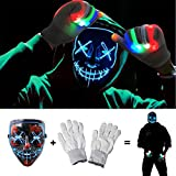 LED Scary Mask Cosplay Costume Mask Safe EL Wire/3 Modes Glowing Creepy Mask