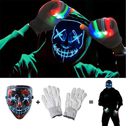 Halloween Scary Mask with LED Gloves Kit, LED...