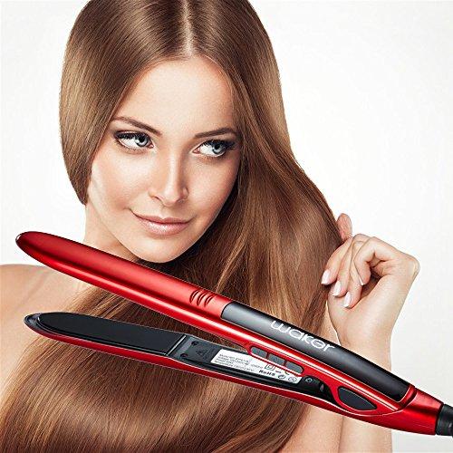 Waker WK-HS01 Professional Ceramic Titanium Ionic Digital LCD Flat Iron Hair Straightener, Red