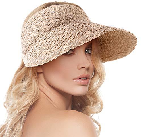 Sombreros de ala ancha para mujer, plegables enrollables, visera de golf, Beige/Marrón, Talla única