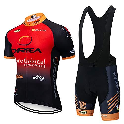 HAIHF - Juego de maillot de ciclismo para hombre, manga corta con pantalones cortos acolchados de gel 3D, conjunto de ropa de ciclismo para bicicleta de carretera MTB, color B, tamaño Medium