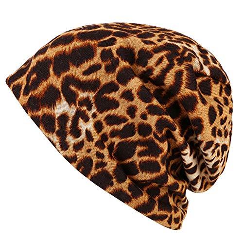 ZYLL Unisex-Baumwollkappe, Frühling Herbst Leopardenmuster Winddicht warmen Haarausfall Hut, Sonnenschirm Hut, Mütze Hut,Coffee,OneSize